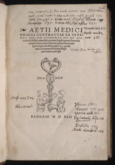 Aëtius, Aetii medici graeci contractae…, title page