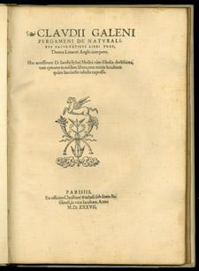 Galen, …De naturalibus facultatibus libri tres, title page