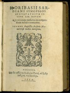 Ori basius, Oribasii Sardiani Synopseos…, title page