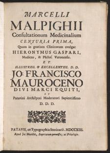 Malpighi, Consultationum medicinalium…, title page