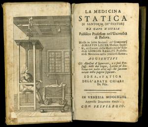 Santorio, La medicina statica, frontispiece and title page
