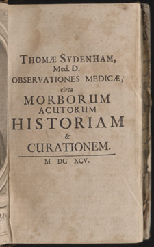 Sydenham, Observationes medicae…, title page
