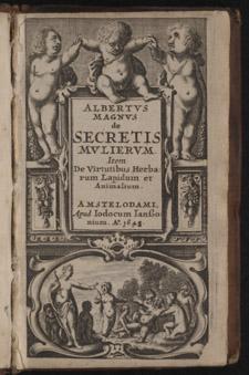 Albertus, …De secretis mulierum…, title page