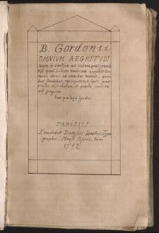 Bernard de Gordon, Omnium aegritudinum a vertice ad calcem, opus praeclariss, title page