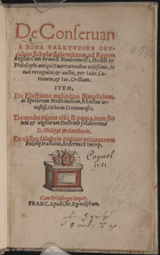 Arnaldus, de Villonova and the School of Salerno, De conservanda bona valetudine…, title page