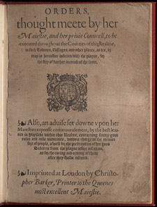 England and Wales…, Orders Thought Meete by Her Maiestie…, title page