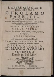 Fabricius, ab Aquapendente, L'opere cirugiche…, title page