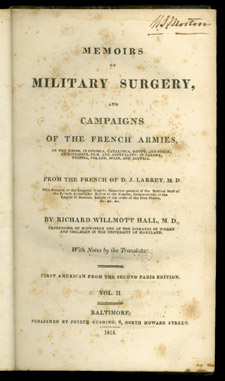 Larrey, Memoirs of Military Surgery…, title page