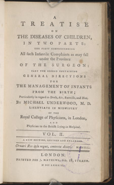 Underwood, A Treatise on the Diseases of Children…, title page