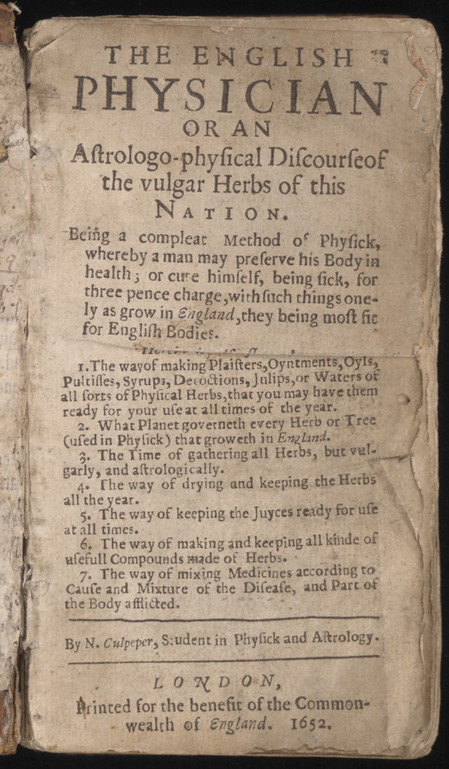 sample Culpeper title page