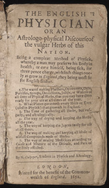 Culpeper, The English Physician…, title page