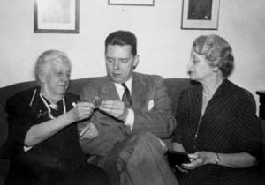 Emilie Lawrence Reed, Philip Showalter Hench, and Blossom [Emilie M.] Reed at a party celebrating Emilie Lawrence Reed's 86th birthday, January 1942. Philip S. Hench Walter Reed Yellow Fever Collection 1806-1995, Box-folder 86:74. Historical Collections, Claude Moore Health Sciences Library, University of Virginia.