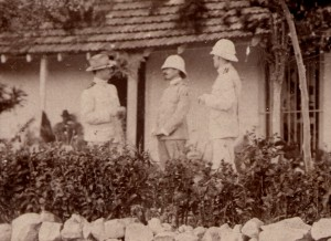 Aristides Agramonte, Jesse Lazear, and James Carroll (l.-r.) in Cuba, August 1900. Philip S. Hench Walter Reed Yellow Fever Collection, 1806-1995, Box-folder 76:5. Historical Collections, Claude Moore Health Sciences Library, University of Virginia.