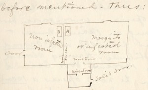Walter Reed's sketch  of Building Number 2 at Camp Lazear (Mosquito Building), circa December 25, 1900. Philip S. Hench Walter Reed Yellow Fever Collection 1806-1995. Box-folder 22:57. Historical Collections, Claude Moore Health Sciences Library, University of Virginia.