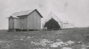 Building No. 1 (Fomites Building, at Camp Lazear, February 1901. Philip S. Hench Walter Reed Yellow Fever Collection, 1806-1995. Box-folder 90:12. Historical Collections, Claude Moore Health Sciences Library, University of Virginia.
